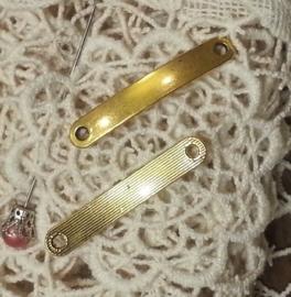2 x Tibetaans zilveren tussenzetsel link, blanco 44,5 x 7 x 1,5mm oogje: 3mm goudkleur