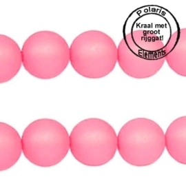 10 Stuks Polaris kralen matt rond 8 mm groot gat 2,5 mm Soft rose pink