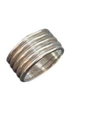 DQ metaal ring met ribbel (dreamz koord) Platinum (nikkel vrij   )  ca. 12 x 6 mm Ø 10mm