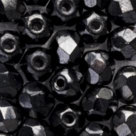 10 x  ronde Tsjechië  kristal kralen 6 mm kleur: grijs  Afm: Gat c.a: 1mm