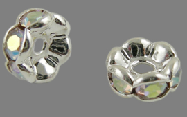 50 stuks verzilverde rondellen 6 x 3 mm kristal AB kleur gat: 1mm