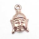 2 x Tibetaans zilveren hanger buddha hoofd 18x12mm rose gold