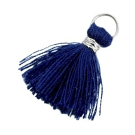 2 x Kwastjes Ibiza style 2cm Zilver-Donker blauw