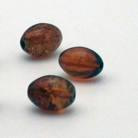 30 stuks crackle glas kralen ovaal 11 x 8,5mm cola