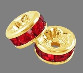 50 stuks kristal spacer verguld 10mm rood gat 1,5mm