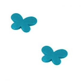 10 x Kinderkralen Acryl Vlinder Turquoise c.a 17 mm