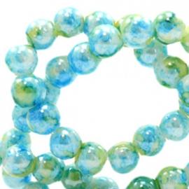 15 stuks Glaskraal gemêleerd 8 mm Light blue-green
