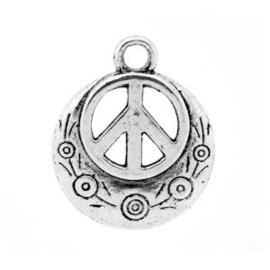 5 x Metalen Bedel Peace Antiek Zilver 24x20 mm
