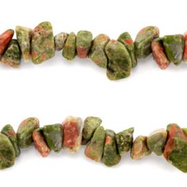 20 x Chips stone kralen Olive green brown c.a 7 mm unakite