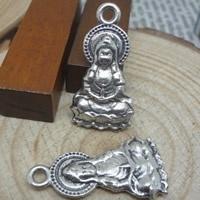 10x Tibetaans zilveren bedeltje van een Buddha 26 x 14mm gat: c.a. 1,5mm