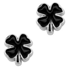 2 x Floating Charms klavertje 4 Antiek zilver-zwart 9x8 mm