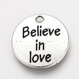 "1 stuks Tibetaans zilveren ""believe in love"" 20 x 2mm oogje: 2mm"
