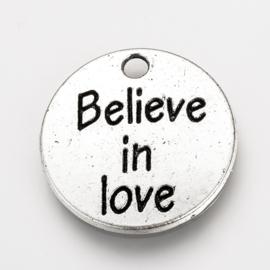 """5 stuks Tibetaans zilveren """"believe in love"""" 20 x 2mm oogje: 2mm"""