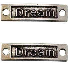 1x Bedel Dream 2 ogen Antiek Zilver 35x9 mm