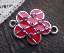 Per stuk Zilverkleurig metalen tussenzetsel bloem rood epoxy met strass 23 mm