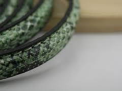 1 meter echt lederen snakeskin groen 10 x 2mm