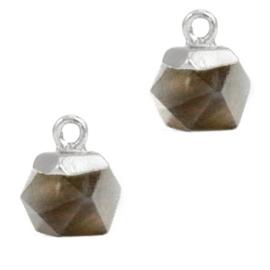 1 x Natuursteen hangers hexagon Black diamond- silver Rook kwarts