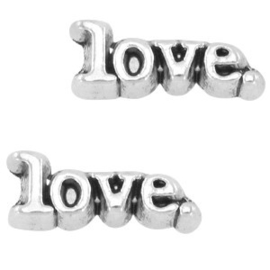 2 x Floating Charms Love Antiek Zilver 10x3 mm