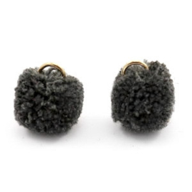 2 x Pompom bedel met oog 15mm Anthracite black