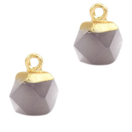 1 x Natuursteen hangers hexagon Mirage grey-gold Agaat