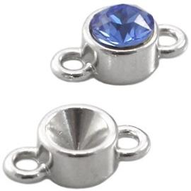 2x Puntsteen Setting SS29 DQ twee ogen Zilver ca. 15 x 8 mm (voor puntsteen SS29, 6mm)