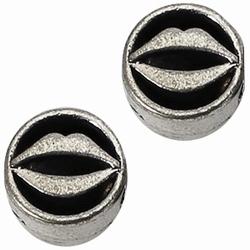 Per stuk European Jewelry kraal metaal opengewerkte lippen rond antiek zilver 10 mm