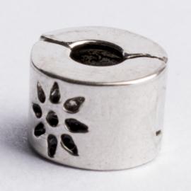 Be Charmed stopper bedel  met groot gat zilver met een rhodium laag (nikkelvrij) c.a. 9 x 6mm gat:3.5 mm