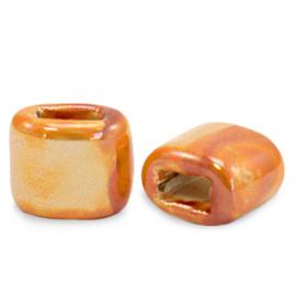 1 x C.U.S sieraden schuiver DQ Grieks keramiek 11x12mm Amberglow orange