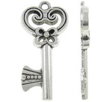 4 x Tibetaans zilveren sleutel 14 x 28 x 3mm oogje: 2mm