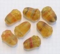 10 Stuks Glaskraal tulp mat topaaz gemeerd 12 mm