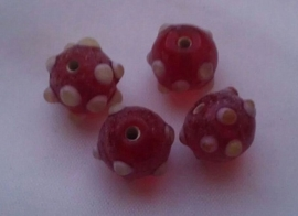 Per stuk Glaskraal India rood met pukkels 12 mm