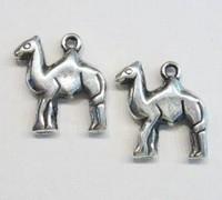 10x  Antiek zilveren kunststof bedel drommedaris 21 mm
