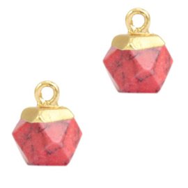 1 x Natuursteen hangers hexagon Red marble-gold Rode Turquoise