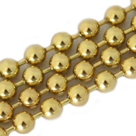 50 cm DQ ball chain / bolletjesketting 3 mm DQ Gold