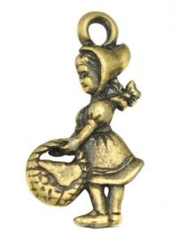 4 x tibetaans zilveren bedeltje van een meisje 22 x 11,5mm geel koper kleur lijkt op goud
