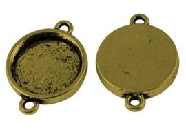 2 x Houder O: Prachtige Camée of Cabochon houder gat: 2mm goud kleur. Binnenzijde: 15mm