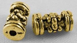 15 stuks tibetaans zilveren buis kralen  goudkleur 4mm x 7,5mm gat:1mm