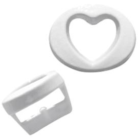 Per stuk Chill metalen schuiver hart pastel wit open 10mm