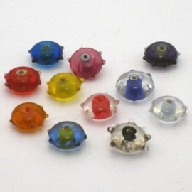 10 stuks glaskralen 13x8mm mix