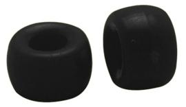 15 stuks Jelly style siliconen kralen zwart  9 x 6mm Gat 4mm geschikt voor veters