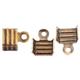 10 x Onderdelen DQ metaal veterklem 3mm Antiek brons (nikkelvrij)