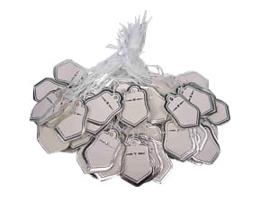 Bosje met c.a. 100 stuks prijs labels prijskaartjes met zilveren randje 18x25mm