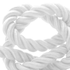 1 rol met 15 meter trendy koord weave 6mm White  (kies voor pakketpost)