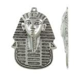 Tibetaans zilveren Egyptische Toetanckamon masker 34 x 49 x 4mm Gat: c.a. 1,5mm