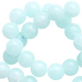 30 x Crackled opal glaskralen 6 mm Light azore blue