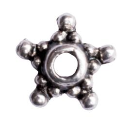 10 x metalen kralenkapje zilver kleur 9 x 2,5mm gat: 2mm