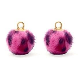 Pompom bedels Faux fur leopard Goud Neon pink 12mm (op = op!)