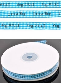 1 meter stoffen lint bewerkt met tekst 'It's a Boy' ± 27m (± 10mm breed)