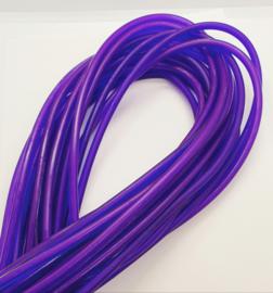 100 cm hol Rubber DQ koord 4mm per meter geknipt donker paars