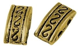 10 stuks tibetaans zilveren verdelers goudkleur  5 x 10 x 4mm gat: 1,5mm - 2 gaten